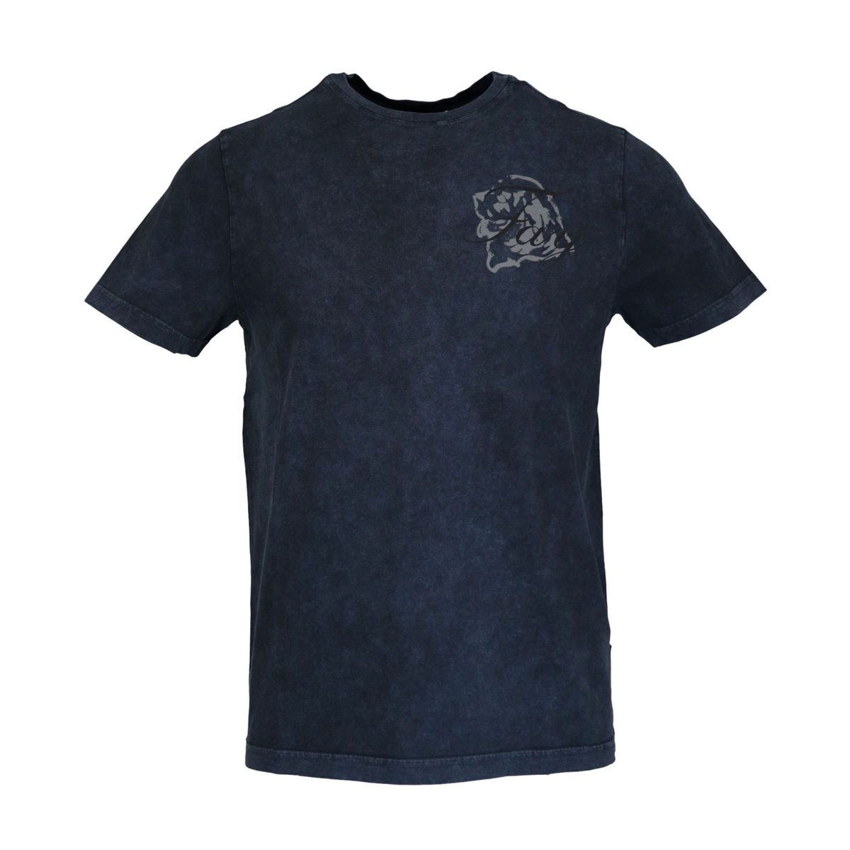 Garment dyed cotton short sleeve t-shirt Navy Fay