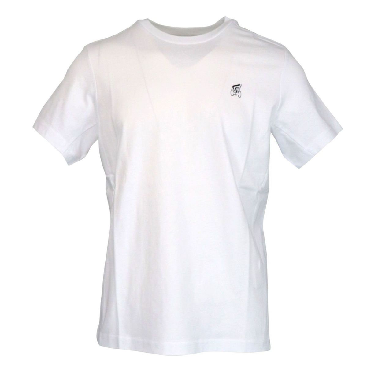 Short sleeve cotton T-shirt with small H logo and wing White Hogan