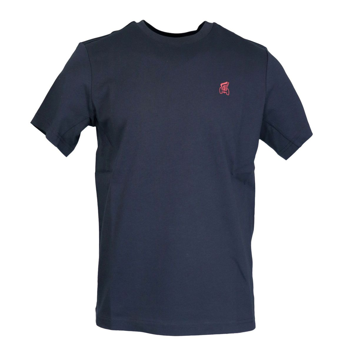 Short sleeve cotton T-shirt with small H logo and wing Navy Hogan