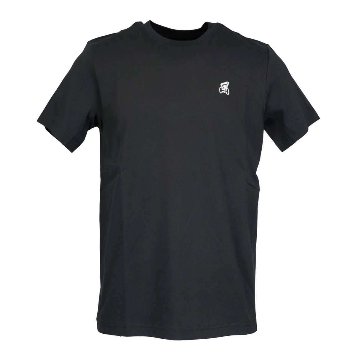 Short sleeve cotton T-shirt with small H logo and wing Black Hogan