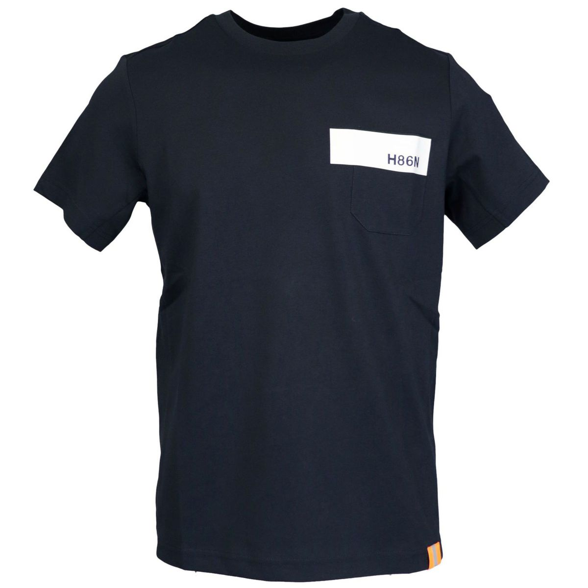 Crew-neck cotton T-shirt with print and pocket Navy Hogan