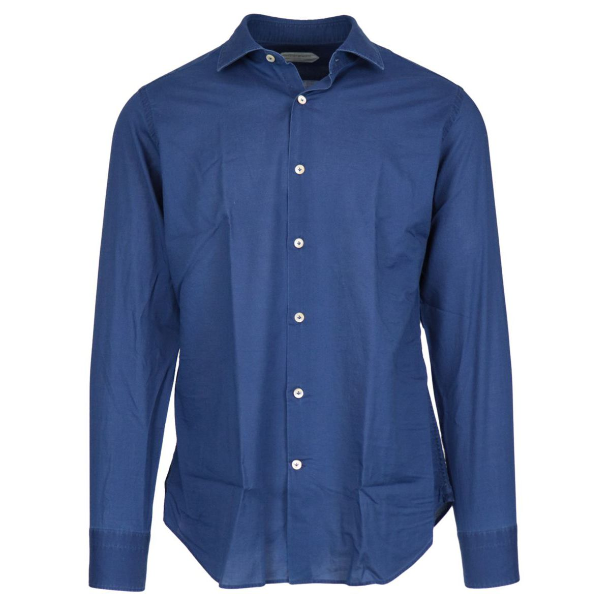 Regular-fit cotton shirt with pleats on the back and French collar Blue Guglielminotti