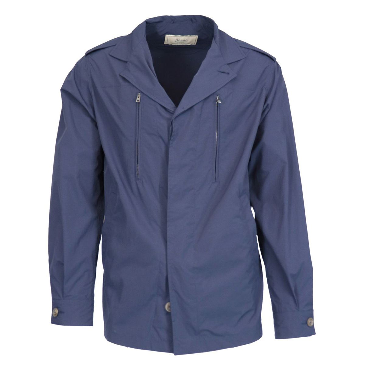 Windproof nylon jacket with zip pockets on the chest Blue Herno
