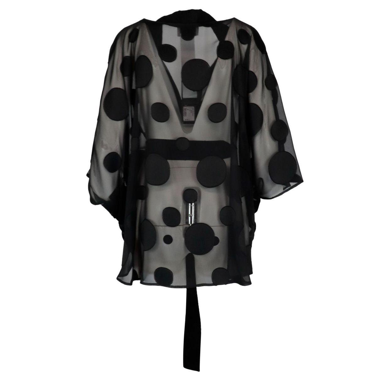 Polka dot tulle kimono jacket with belt Black Joseph Ribkoff