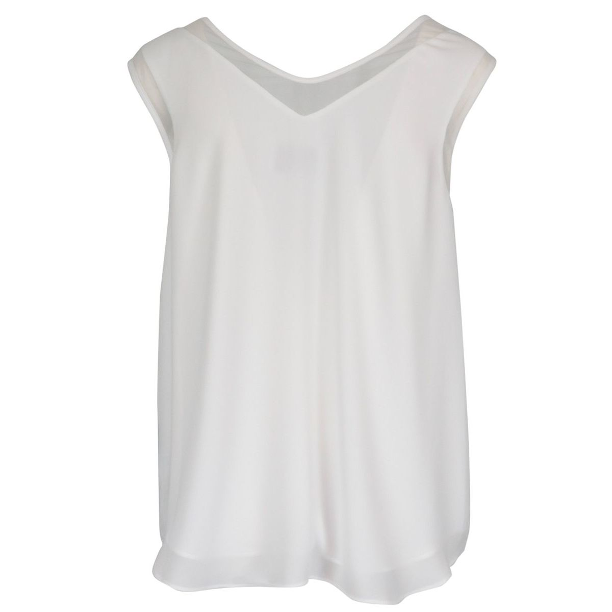 Tank top in sheer fabric with V-neck Optical white Joseph Ribkoff