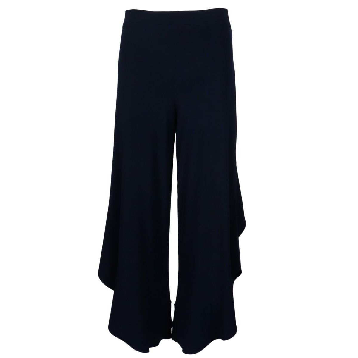 Wide crepe trousers with ruffle bottom Blue Joseph Ribkoff
