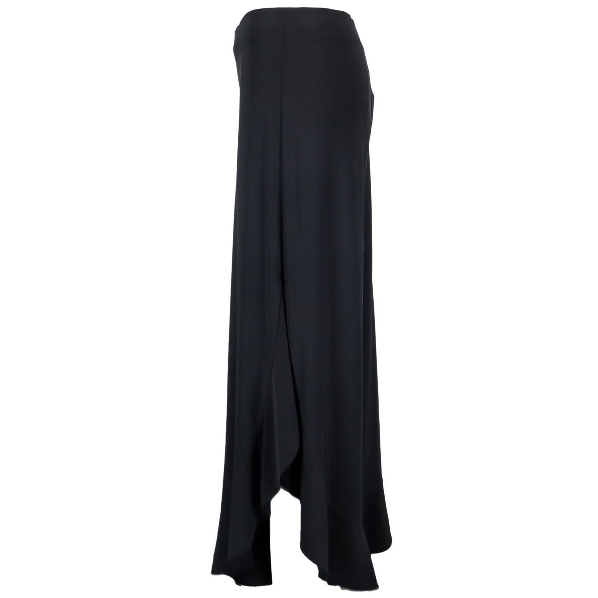 Wide crepe trousers with ruffle bottom Black Joseph Ribkoff