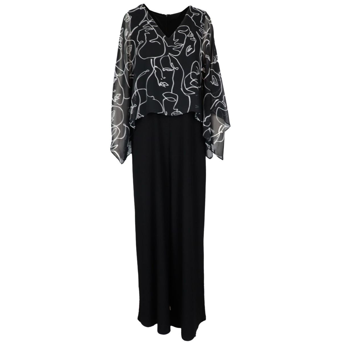 Long crepe jumpsuit with print and ruffle sleeves Black Joseph Ribkoff