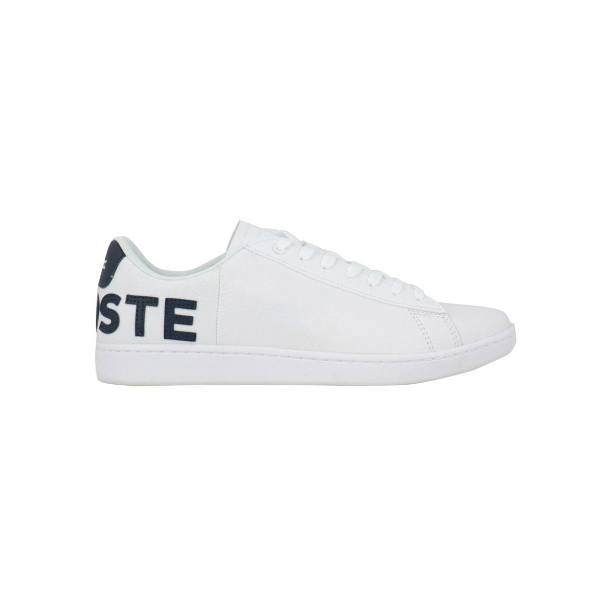Leather sneakers with box bottom and contrasting LACOSTE writing B.co/blu Lacoste