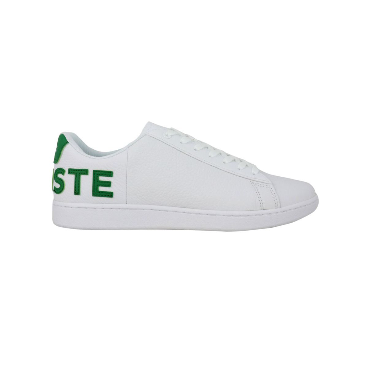 Leather sneakers with box bottom and contrasting LACOSTE writing B.co/verde Lacoste