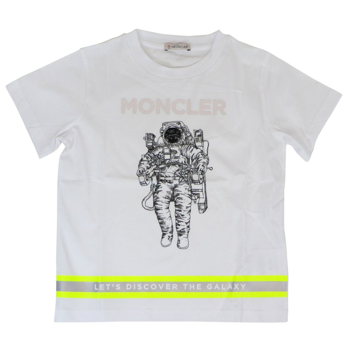 Cotton t-shirt with print and front logo band White Moncler