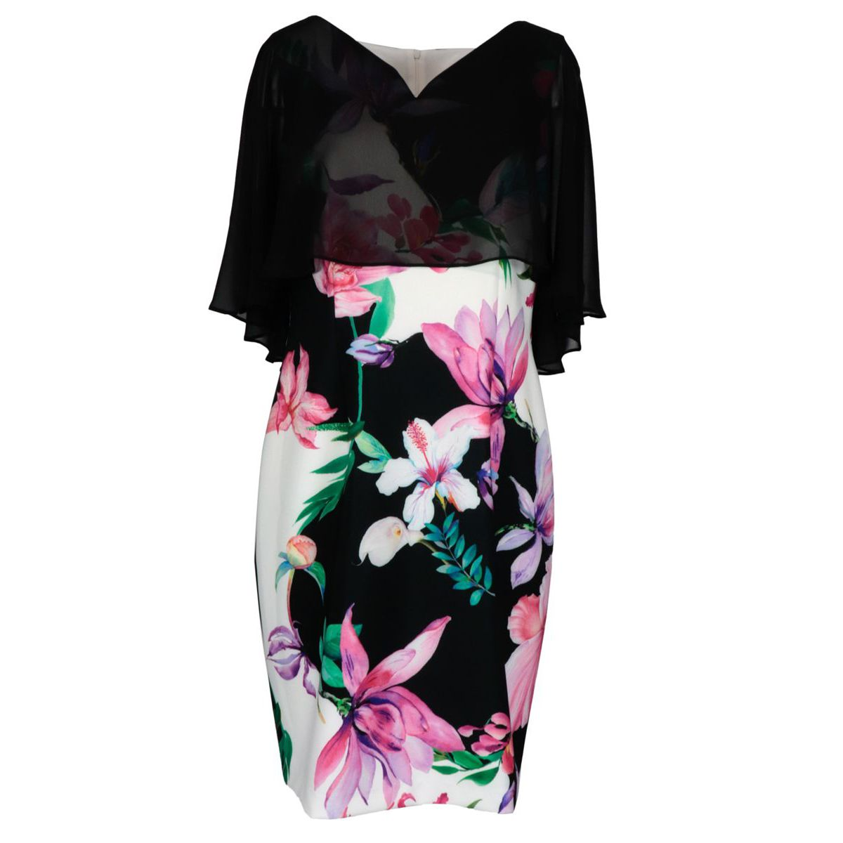 Patterned stretch polyester dress Black / fuchsia Joseph Ribkoff