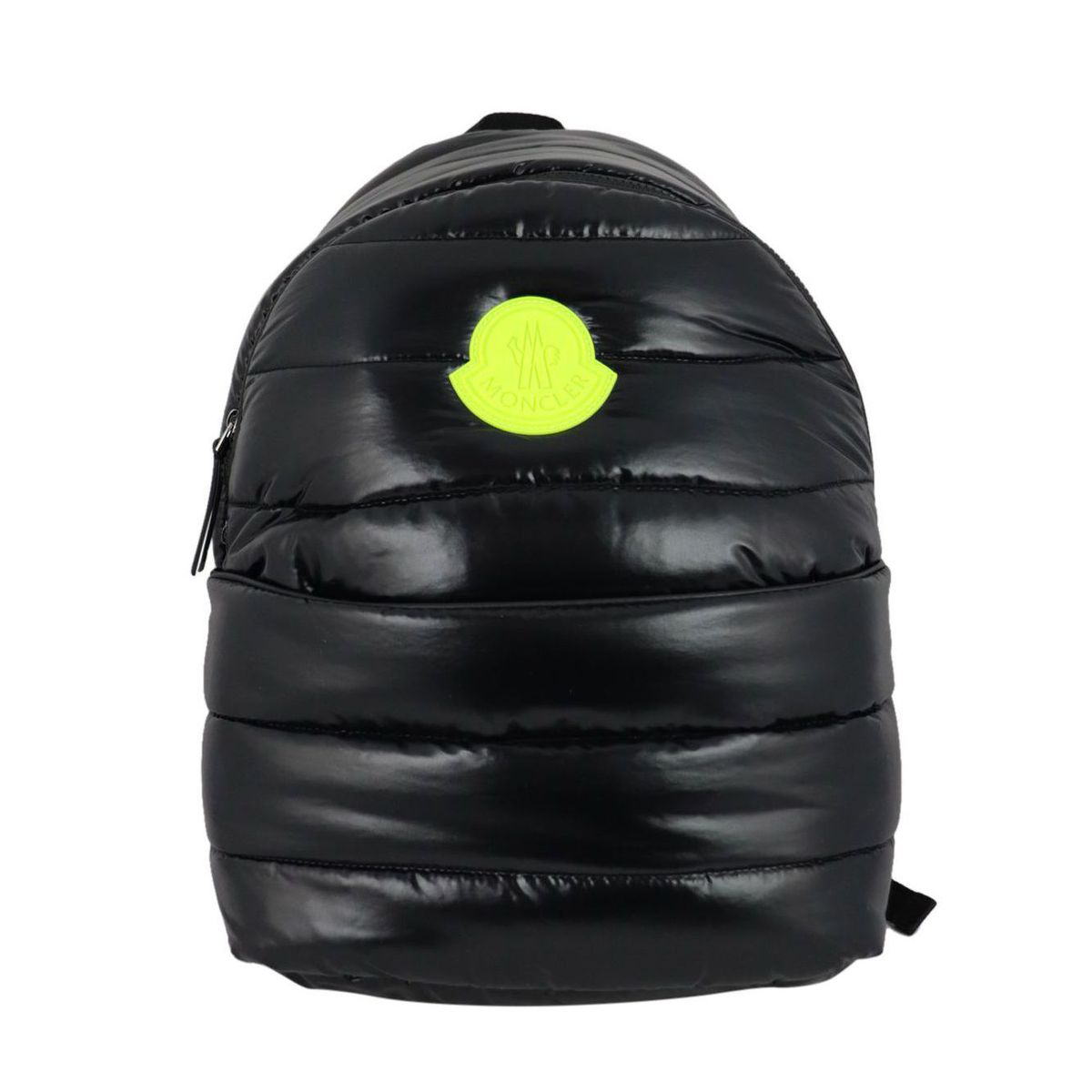 Quilted shiny nylon backpack with large fluo logo Black Moncler