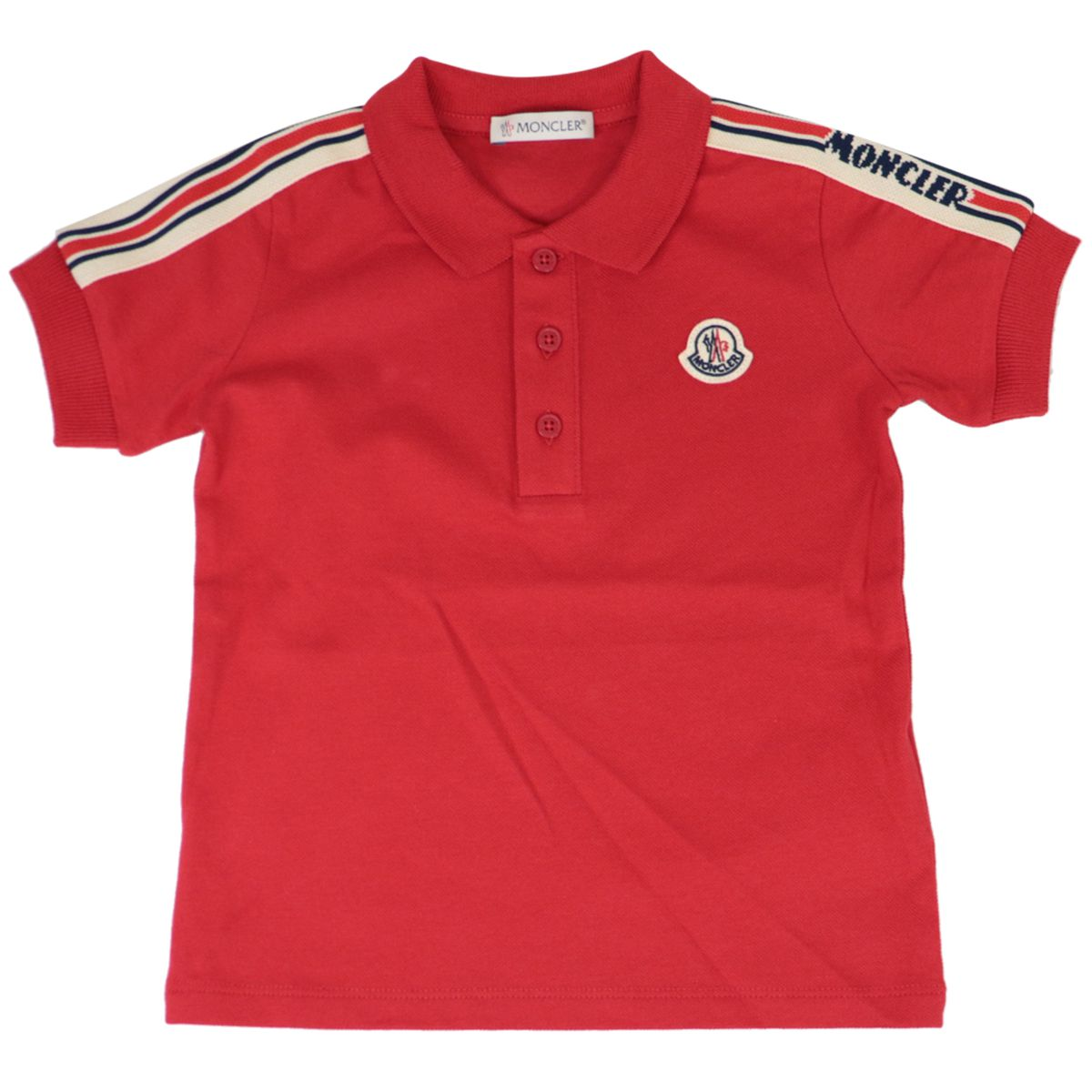 Cotton polo and shorts set with logo Red blue Moncler