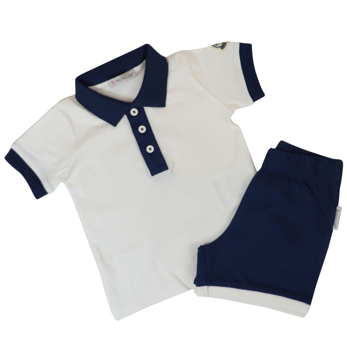 Polo shirt and shorts in bicolor cotton with logo Cream Moncler