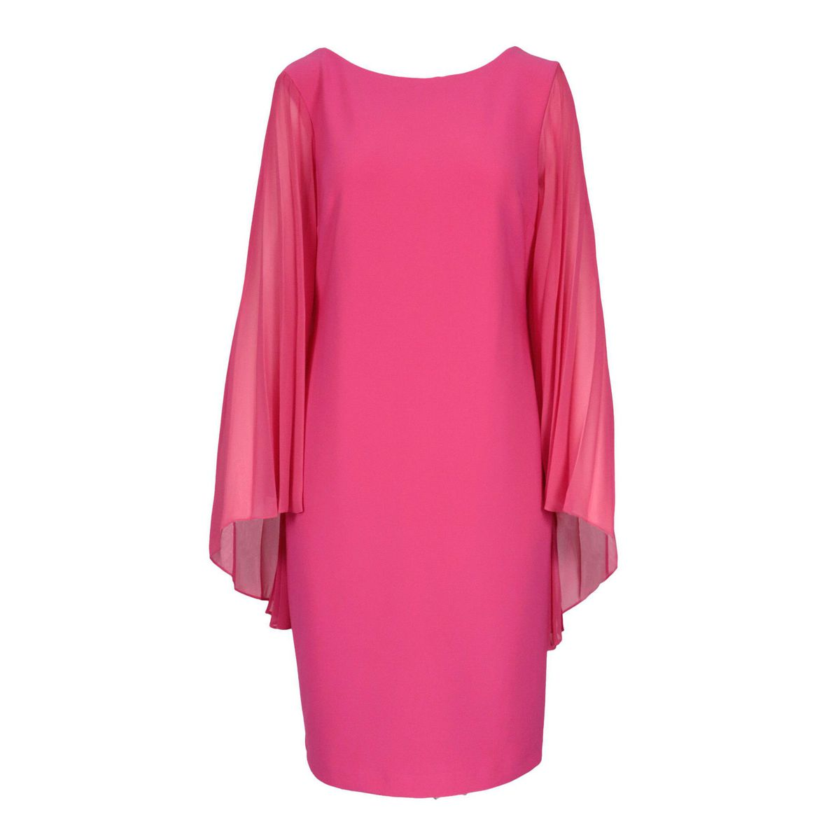 Polyester dress with long pleated sleeves Fuchsia Joseph Ribkoff