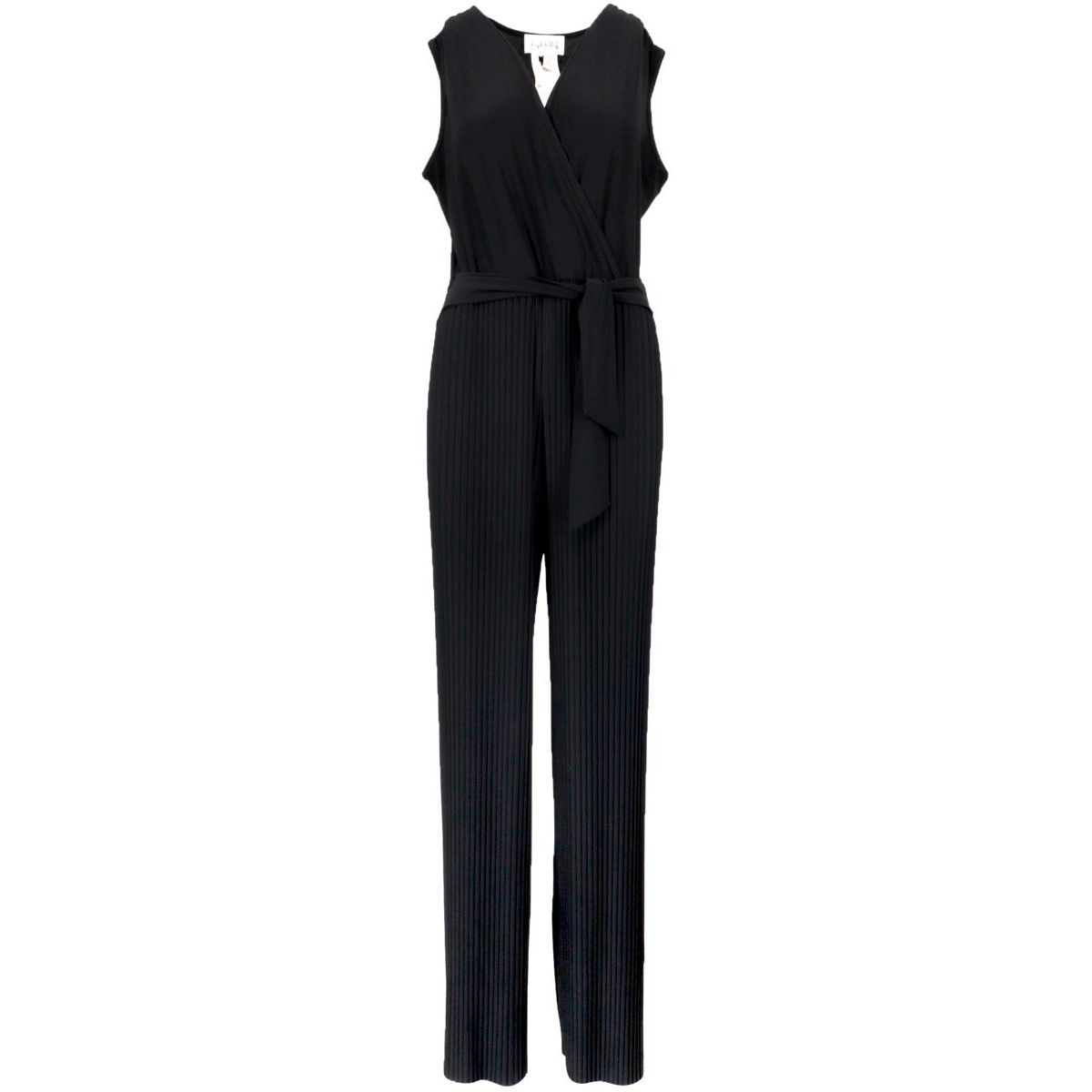 Viscose jumpsuit with V-neck and pleated trousers Black Joseph Ribkoff