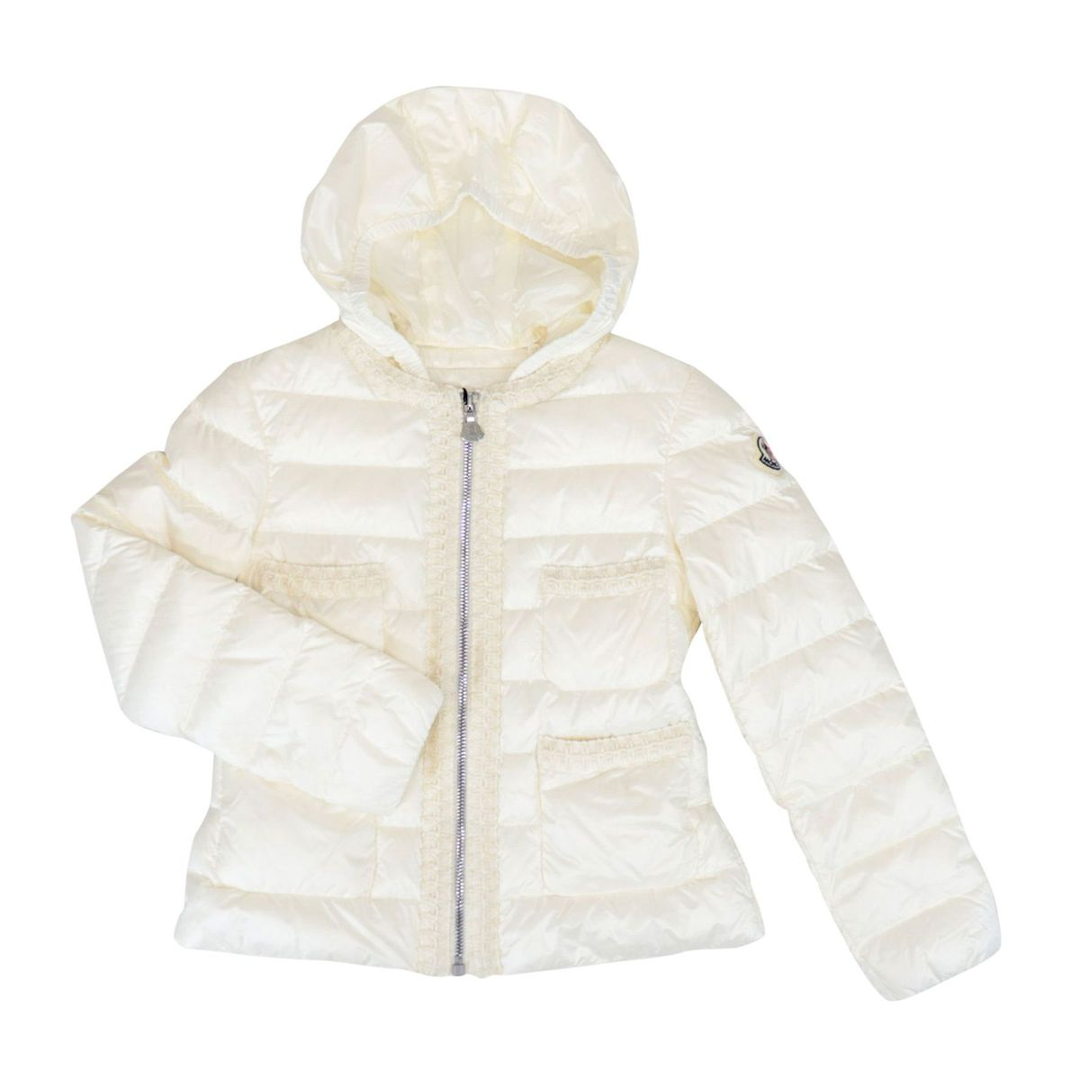 Citron down jacket with hood and macramé effect decorations Cream Moncler