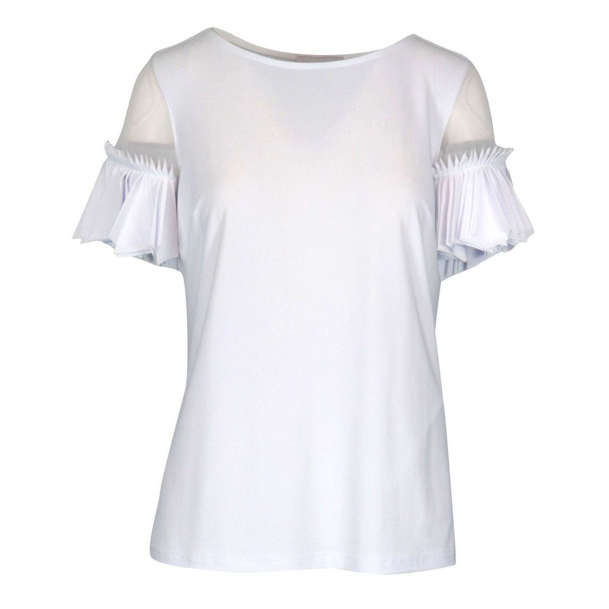 Stretch jersey top with pleated sleeve Optical white Joseph Ribkoff