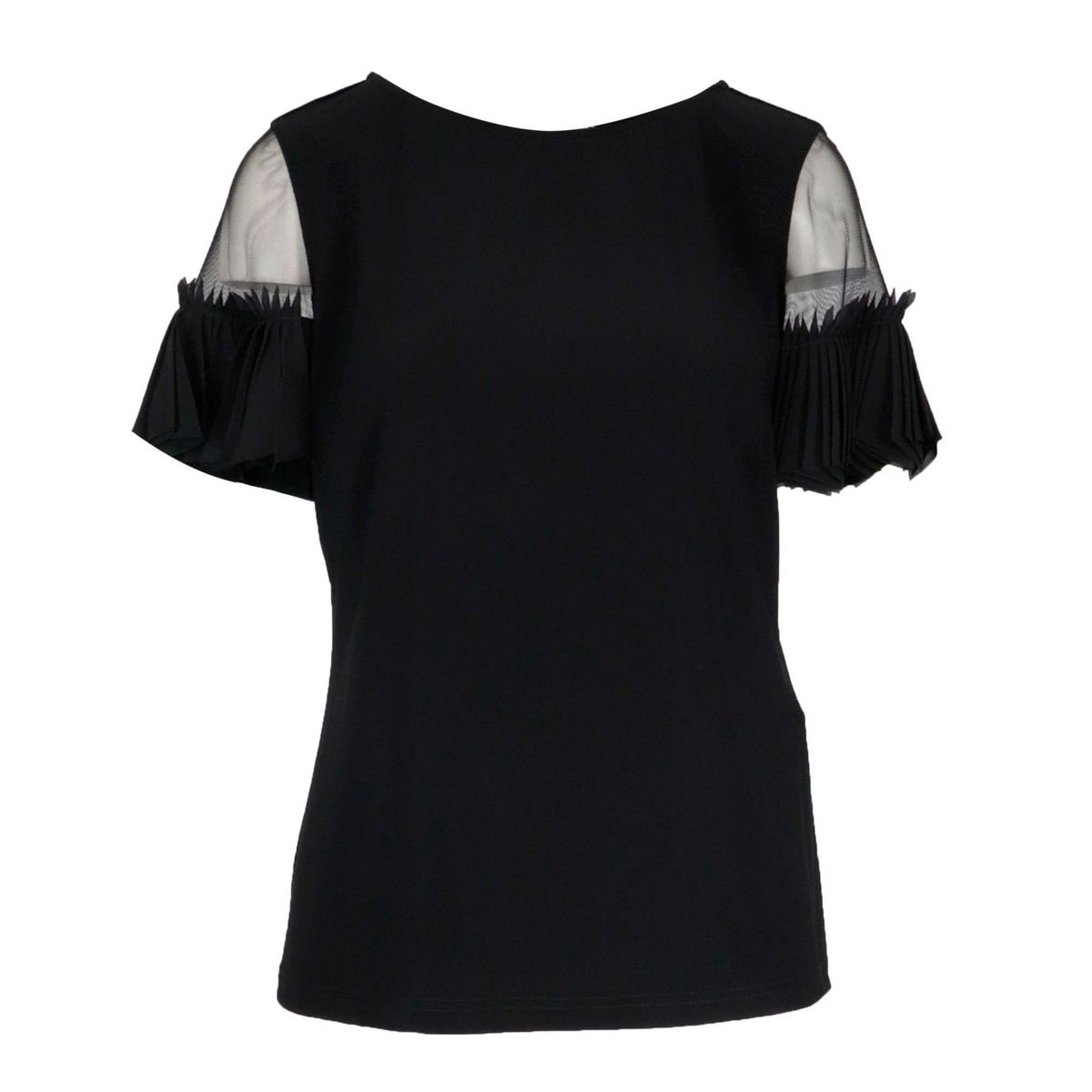 Stretch jersey top with pleated sleeve Black Joseph Ribkoff