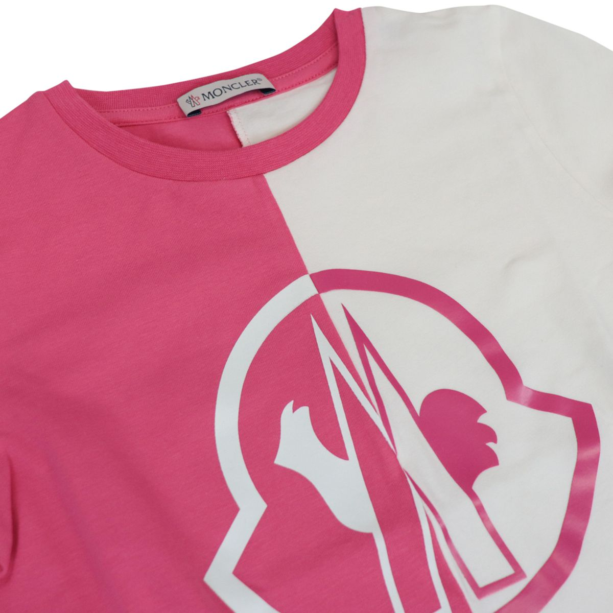 Bicolor t-shirt with logo print White / fuchsia Moncler