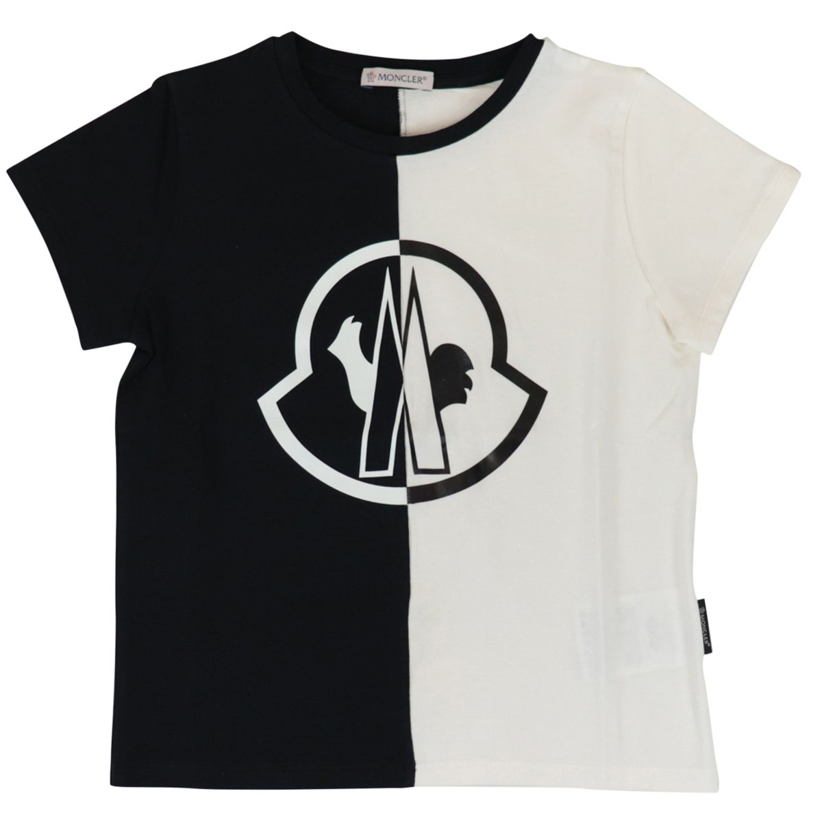 Bicolor t-shirt with logo print Black Moncler
