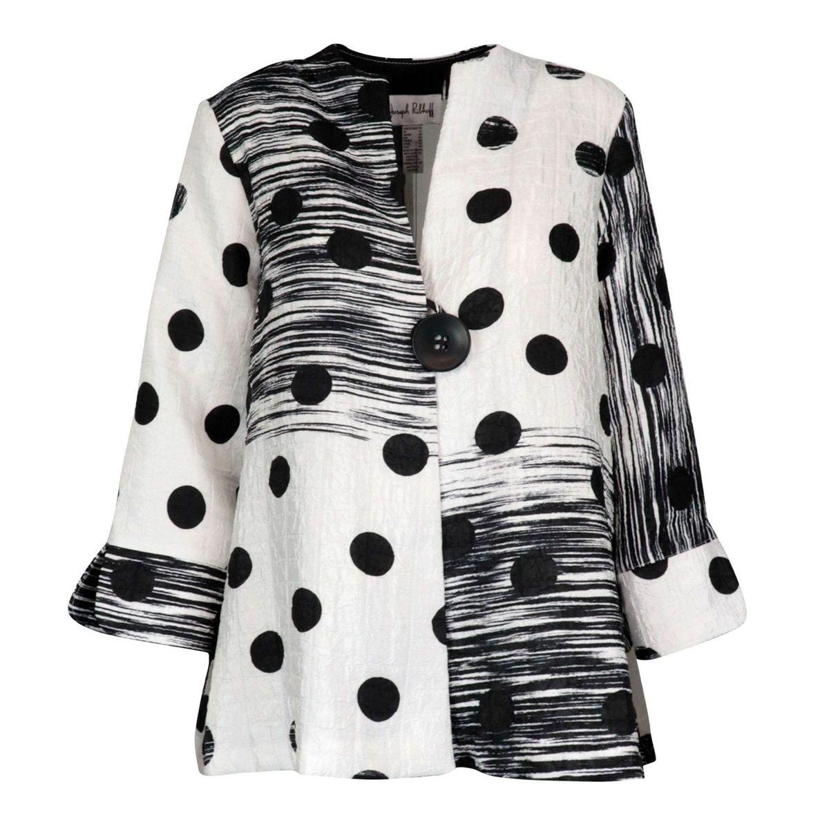 Patterned embossed polyester jacket White black Joseph Ribkoff