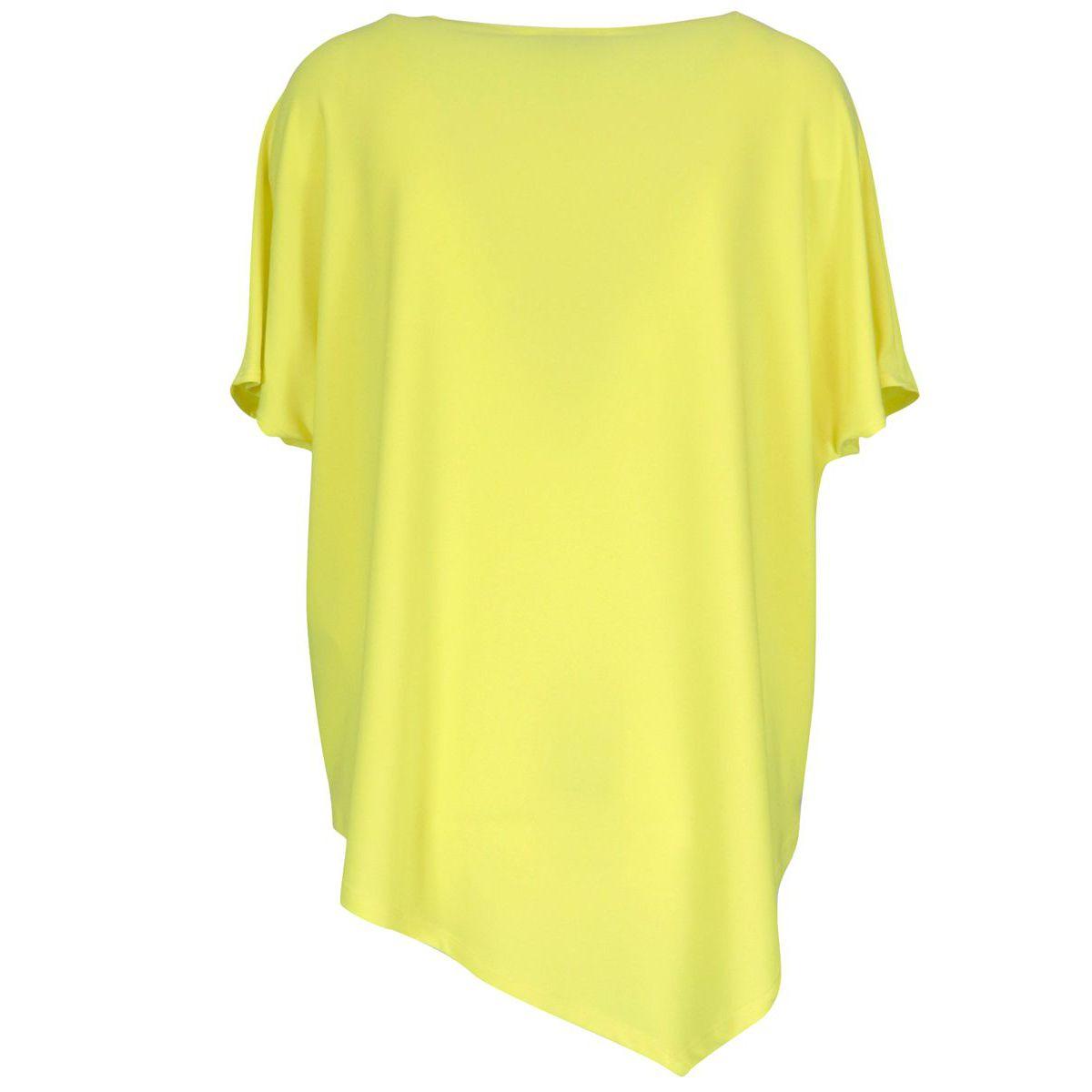 Wide cotton T-shirt with straight neckline and asymmetrical hem Yellow Joseph Ribkoff