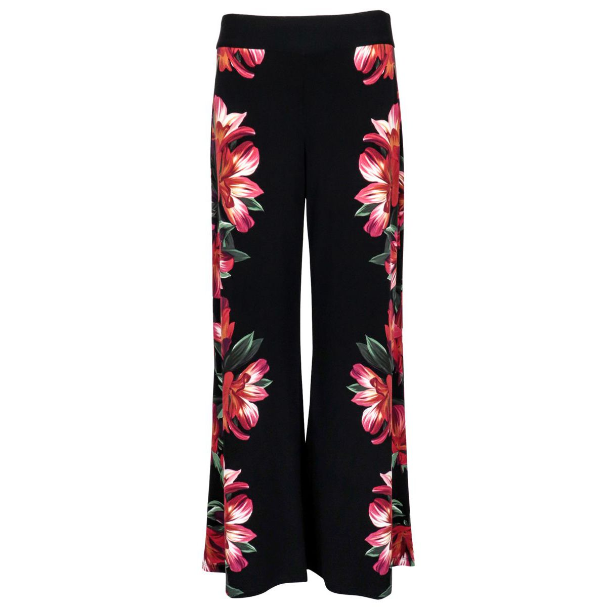 Viscose trousers with floral print and wide bottom Black red Joseph Ribkoff