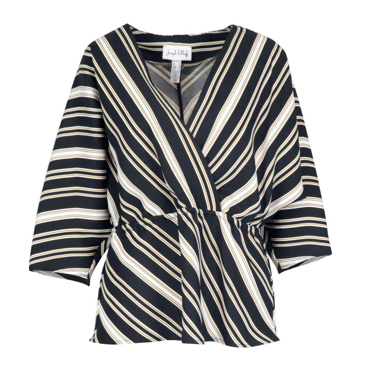 Polyester sweater with cross neckline Black / beige Joseph Ribkoff