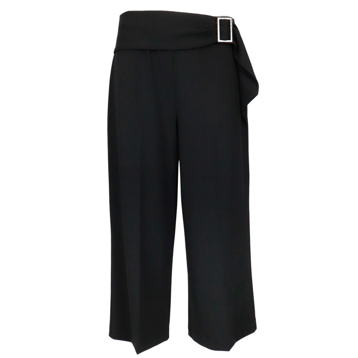 Cropped trousers in stretch jersey with sash belt Black Joseph Ribkoff