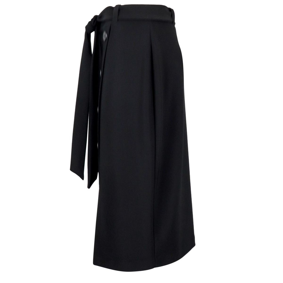Viscose midi skirt with buttons and belt Black Joseph Ribkoff