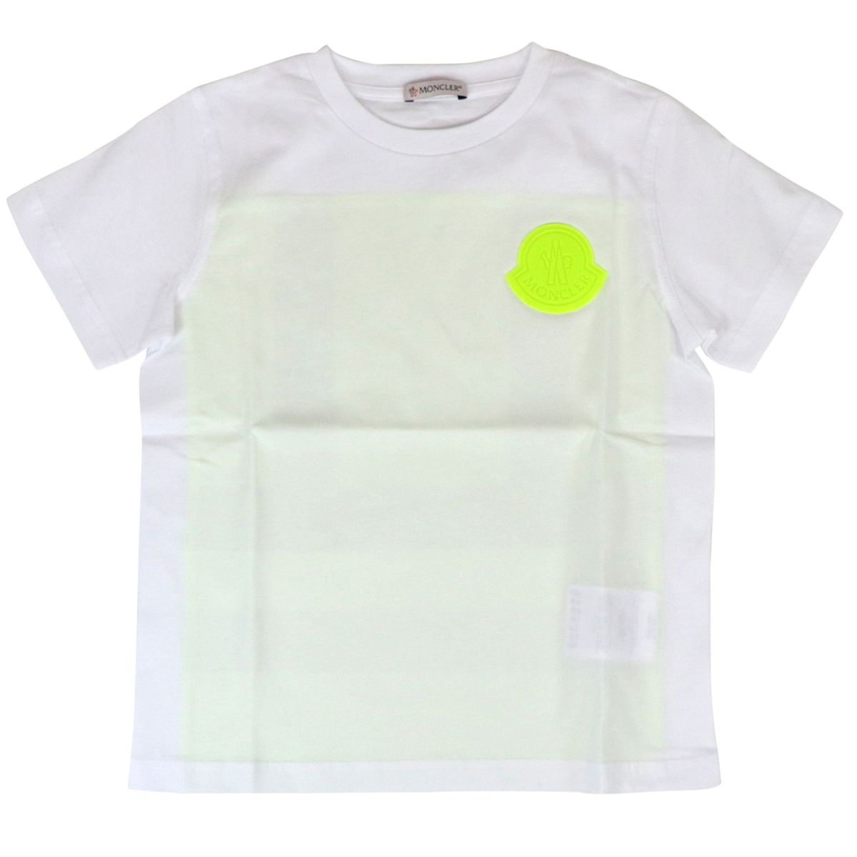 Cotton T-shirt with logo and fluorescent bands White Moncler