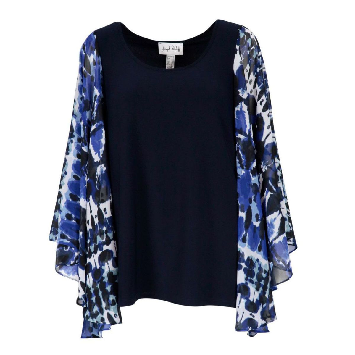 Polyester sweater with wide patterned sleeves Blue / cornflower blue Joseph Ribkoff