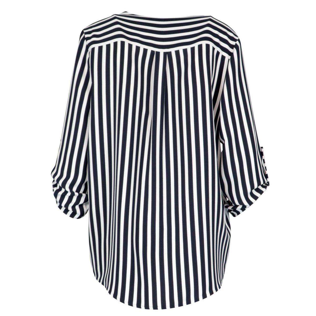 Striped polyester shirt White / blue Joseph Ribkoff