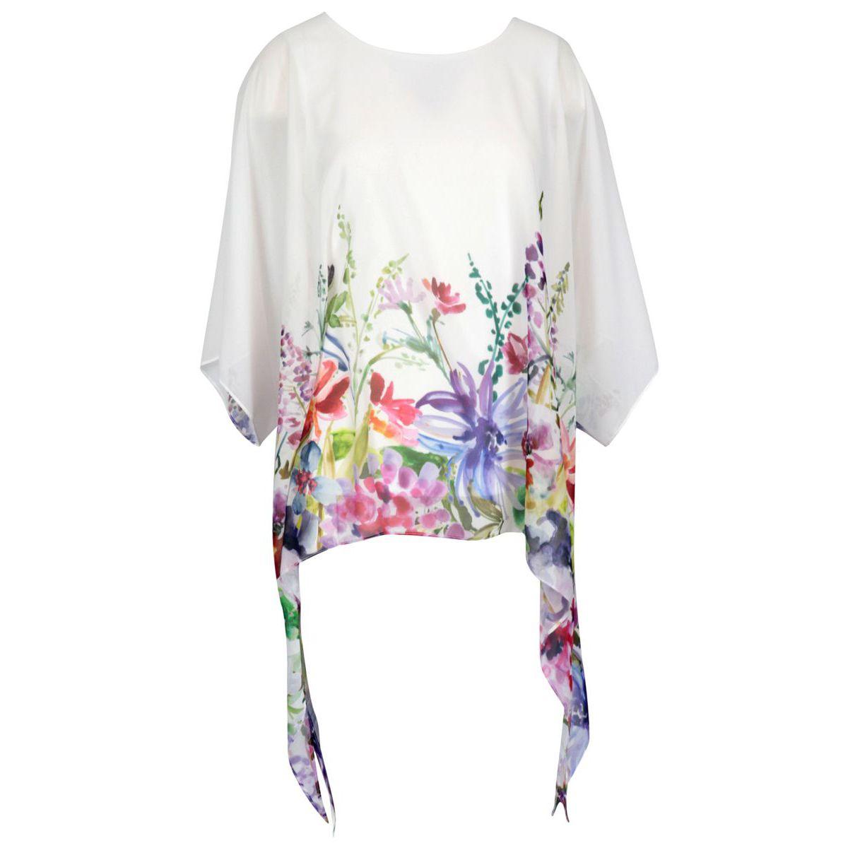 Patterned viscose blouse White / flowers Joseph Ribkoff