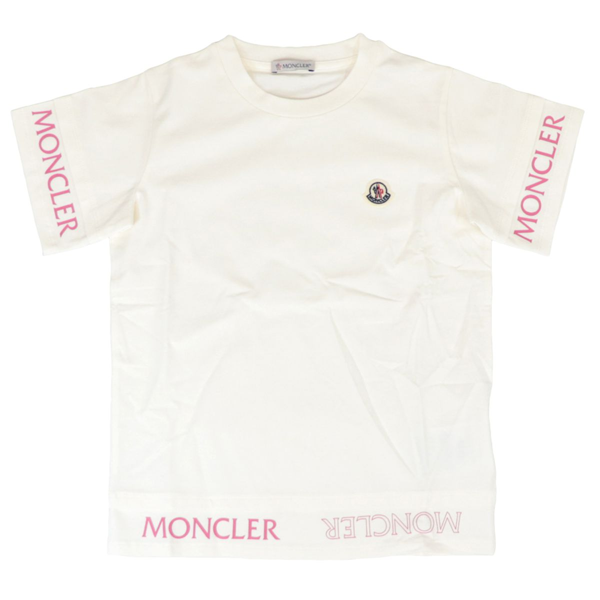 Crew-neck cotton T-shirt with logo on sleeves Cream Moncler