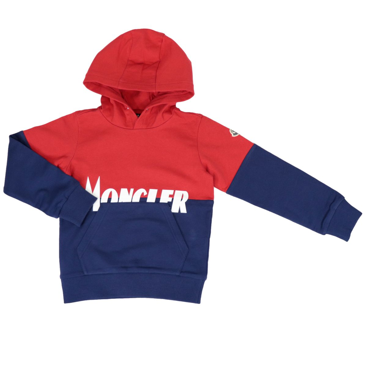 Cotton hoodie with contrasting logo print Red blue Moncler