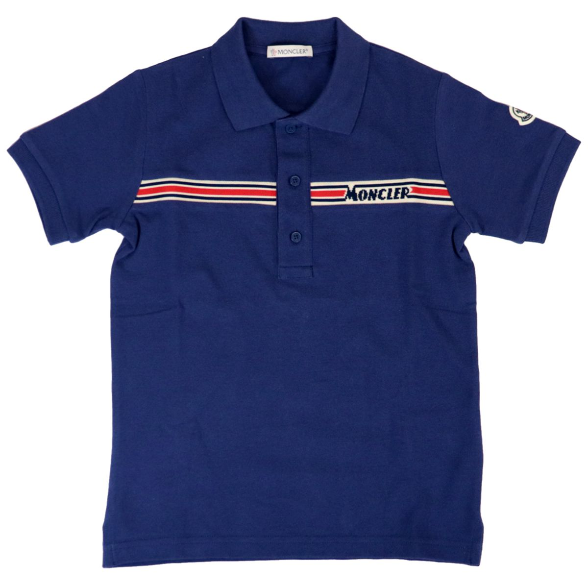 Cotton piqué polo shirt with logoed band Ink Moncler