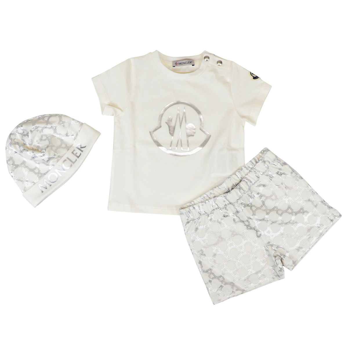 Cotton set with short T-shirt and cap Cream Moncler