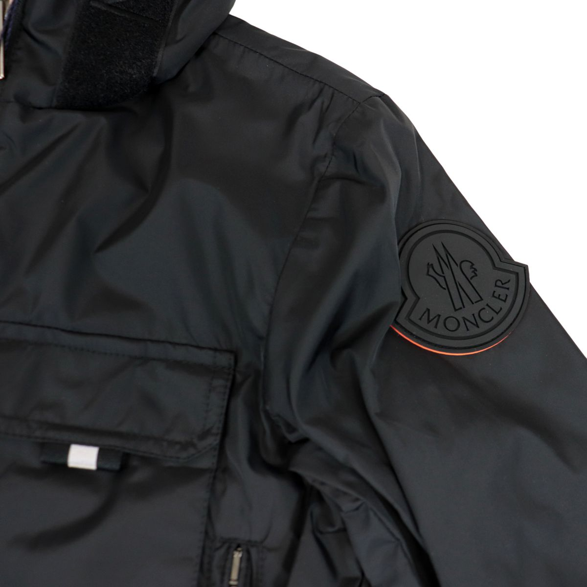 Vingeanne nylon jacket with hood and large logo Black Moncler