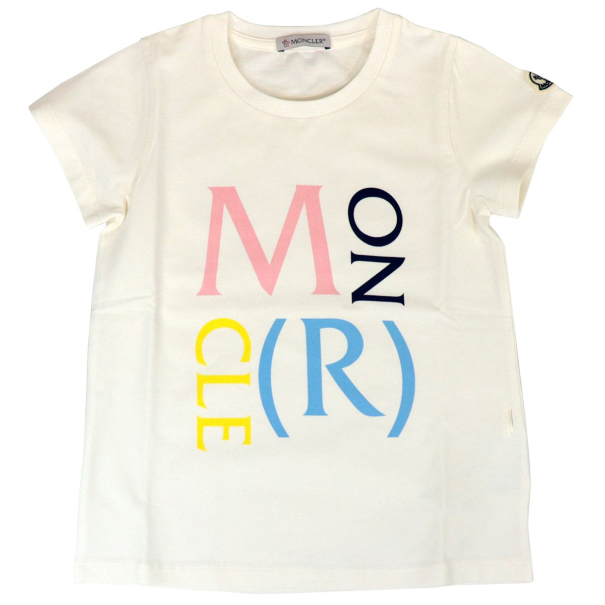 Crew-neck cotton T-shirt with multicolor logo print Cream Moncler