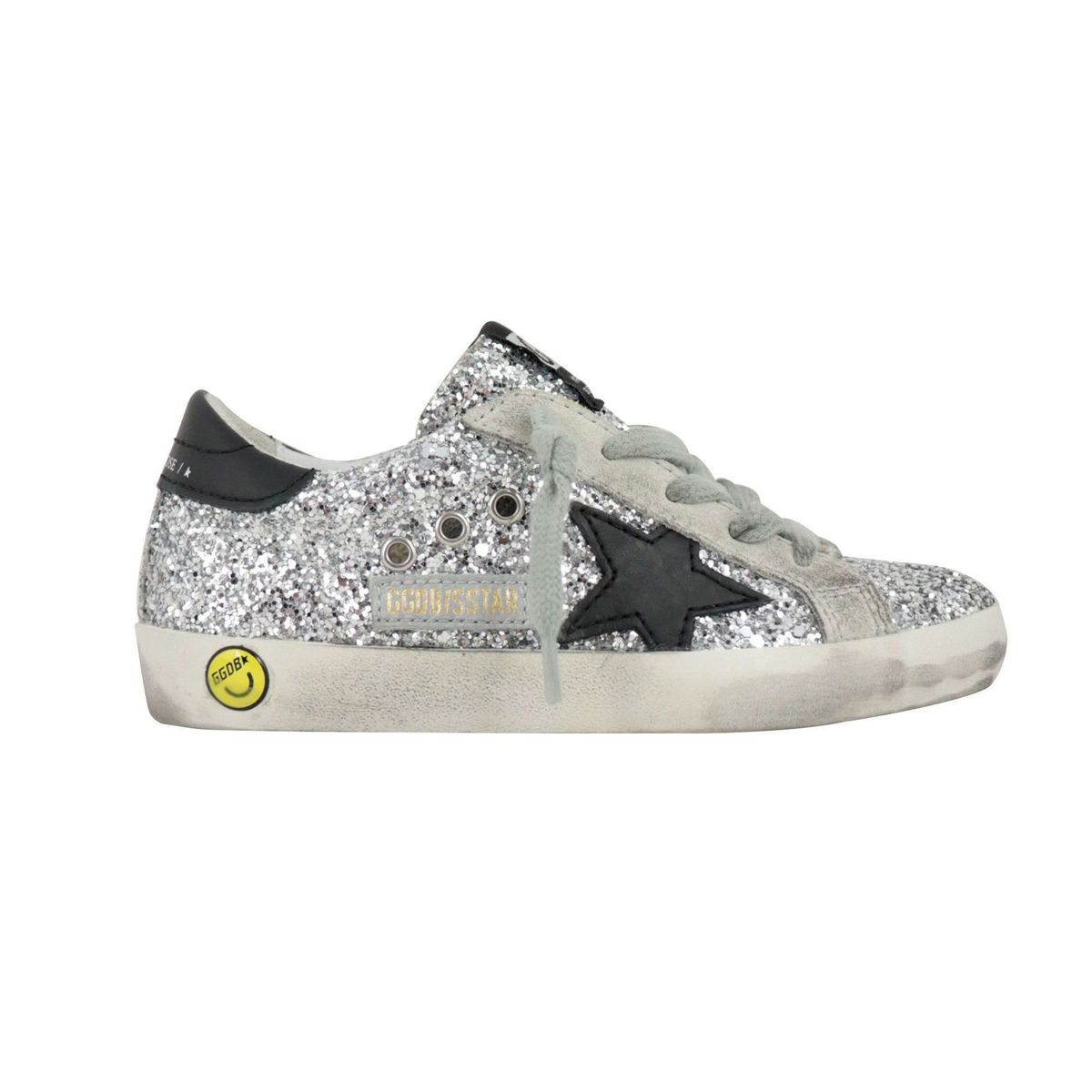 All over glitter leather sneakers with star White GOLDEN GOOSE