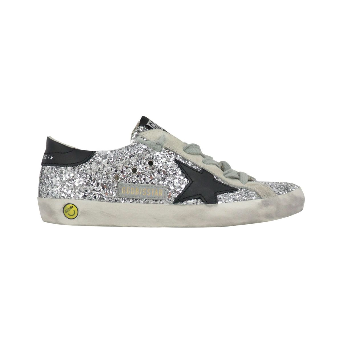 All over glitter leather sneakers with contrasting star White GOLDEN GOOSE