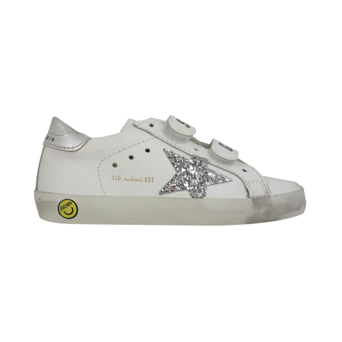 Old School sneakers in leather with glitter star White GOLDEN GOOSE