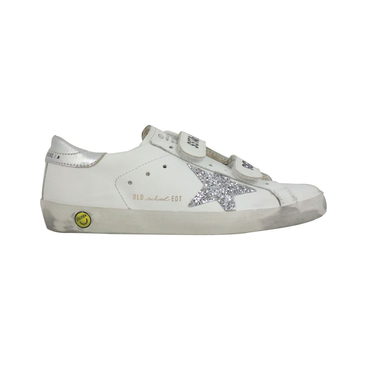 Old School leather sneakers with glitter star insert White GOLDEN GOOSE