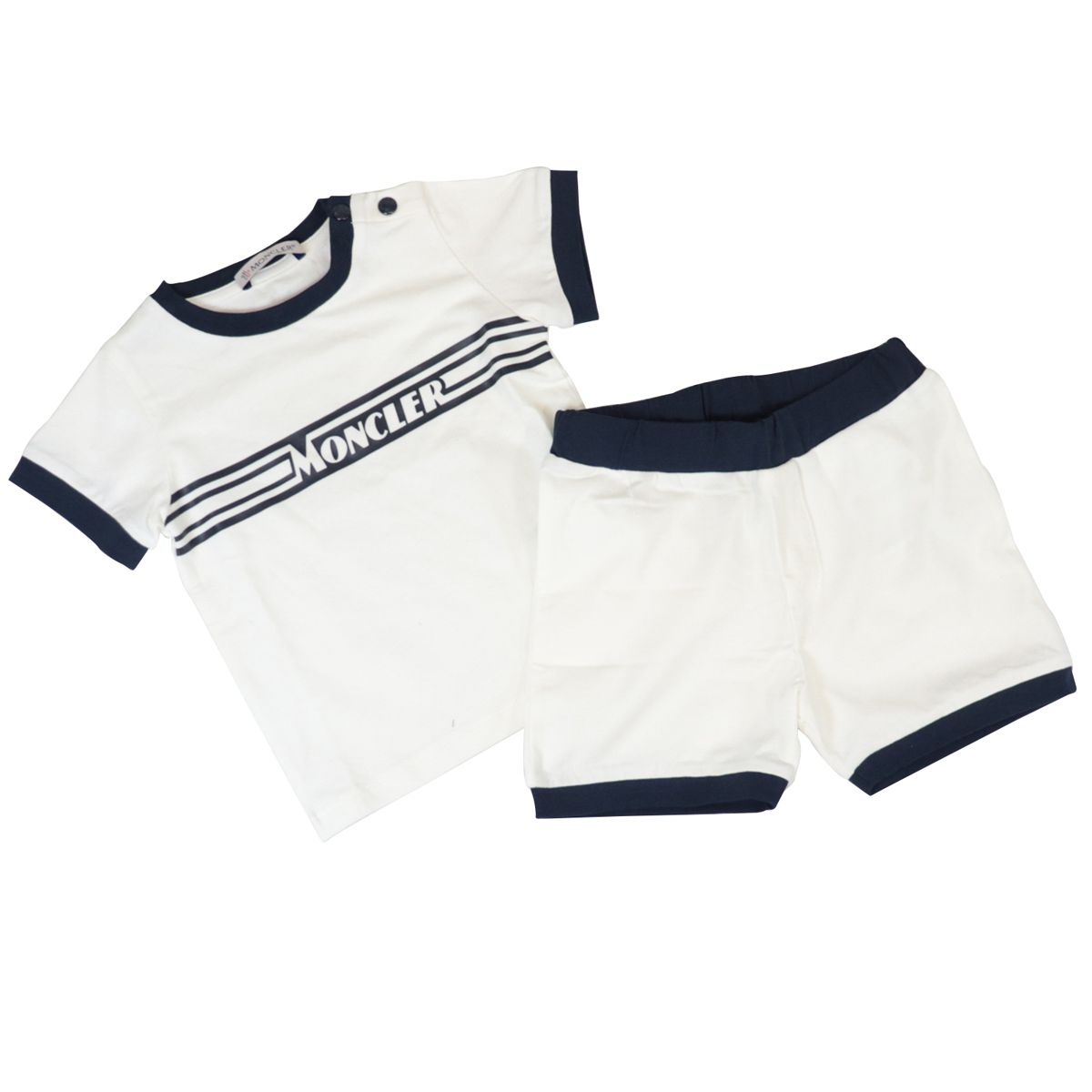 Cotton T-shirt and shorts with logo print Cream Moncler