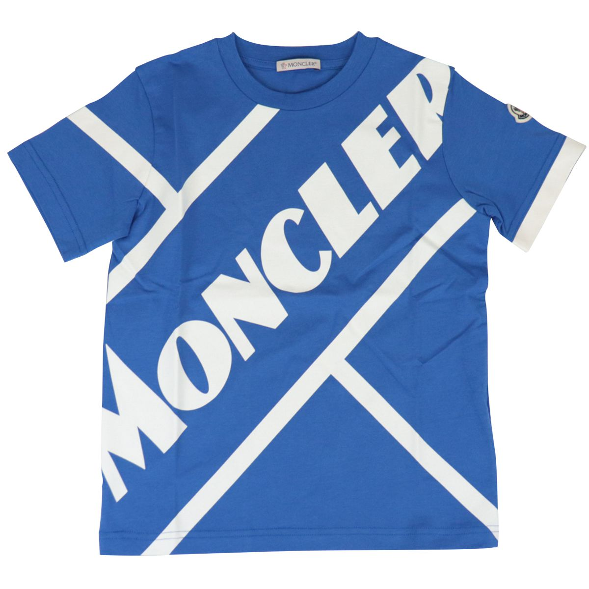 Crew neck cotton T-shirt with oblique logo print Bluette Moncler