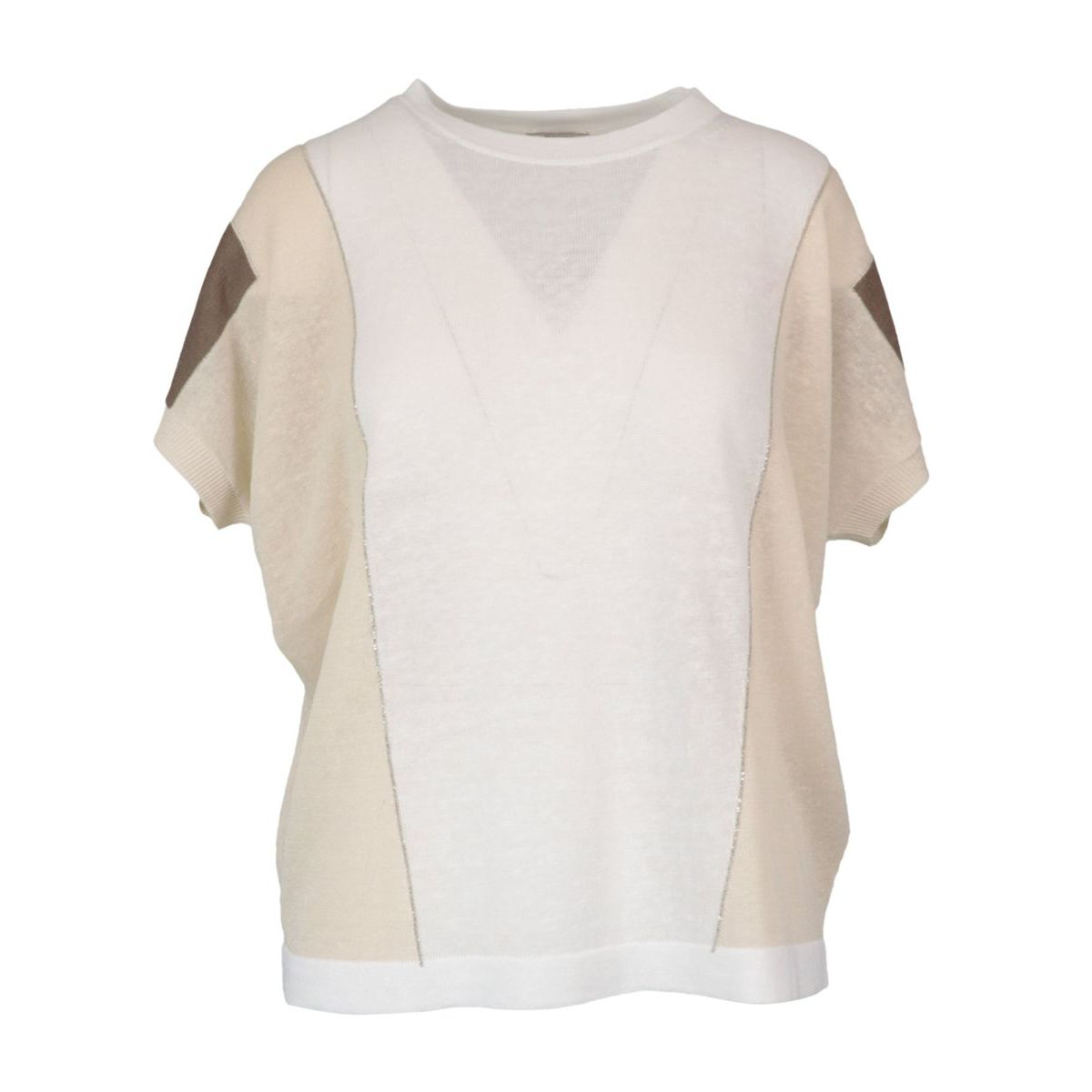 Two-tone linen and cotton sweater White PESERICO
