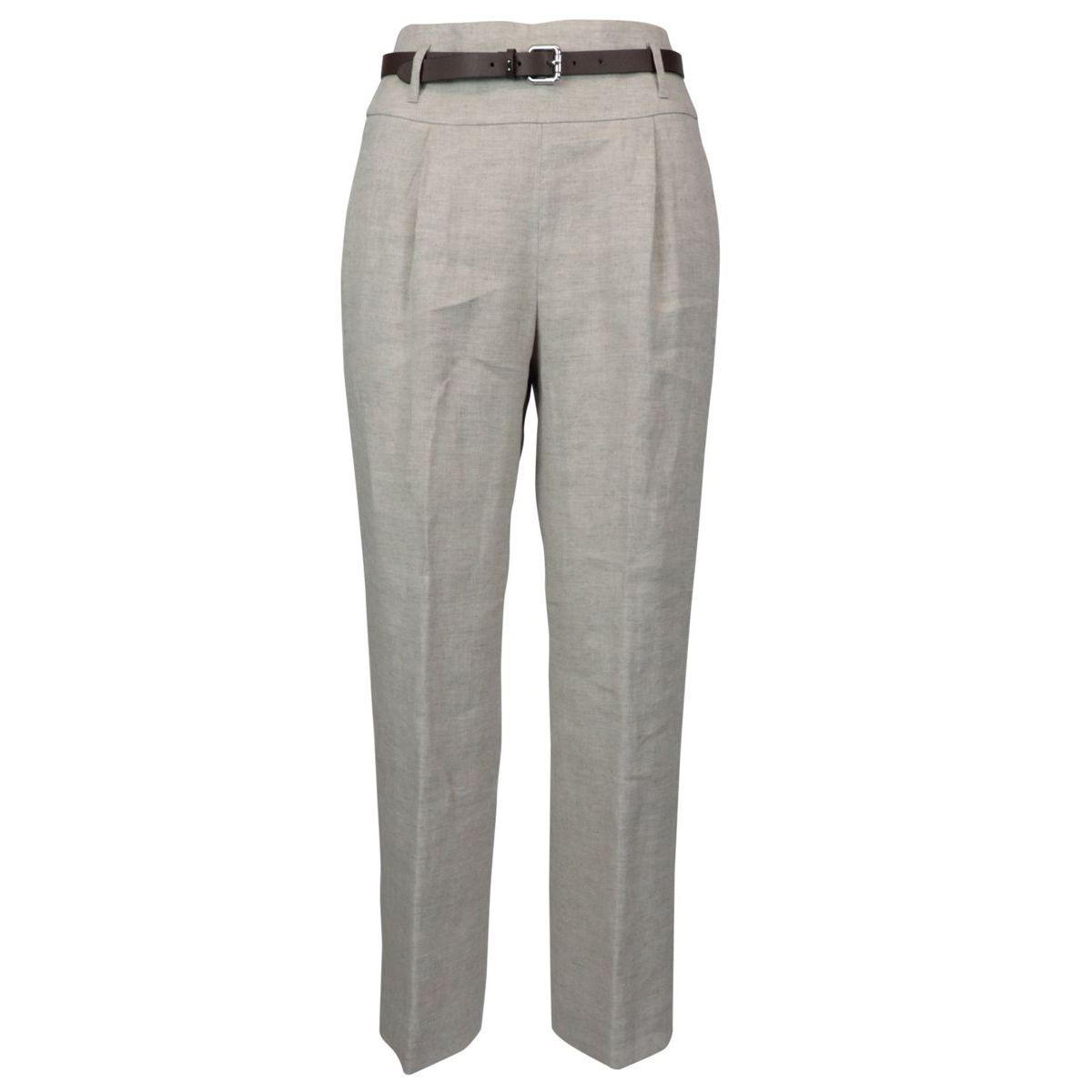 High waist linen trousers Sand PESERICO